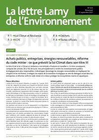 La lettre Lamy de l'Environnement, 654, 17-09-2021