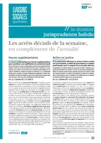Le Dossier Jurisprudence Hebdo, 171/2021, 21-09-2021